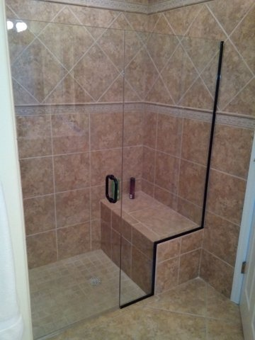 custom glass shower door and wall