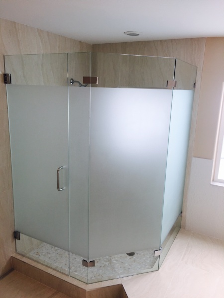 glass shower enclosure with privacy glass