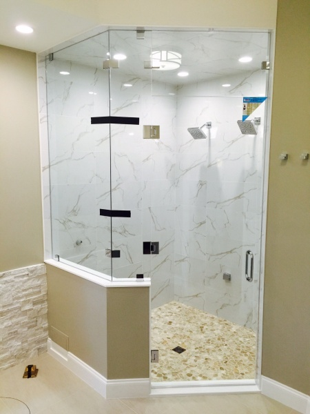 custom glass door and shower surround