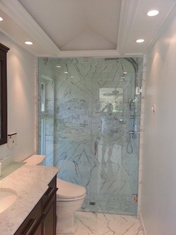 floor to ceiling glass shower surround