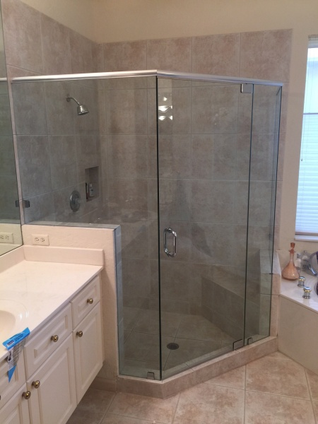 glass shower enclosure and door