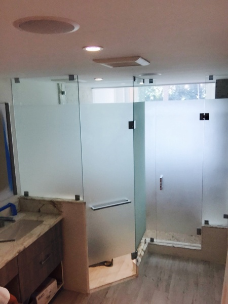 custom shower enclosure with privacy glass