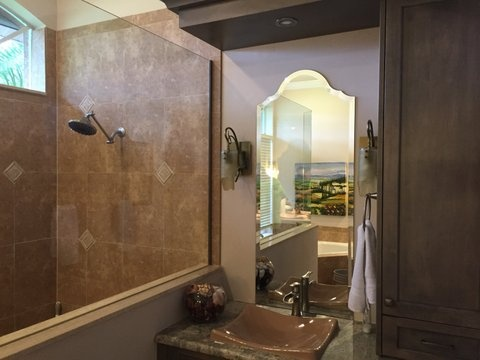 custom bathroom mirror installation