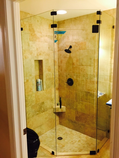 glass shower door and enclosure