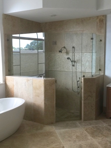 custom glass shower surround
