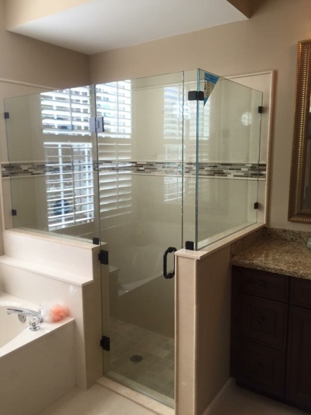 glass shower door and walls
