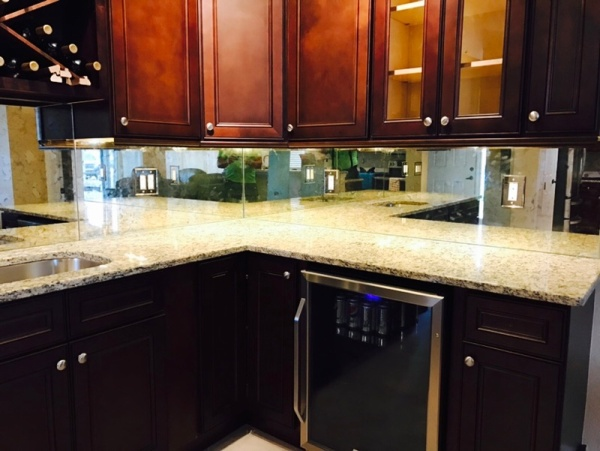 custom mirror kitchen backsplash