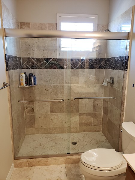 dual sliding glass shower doors